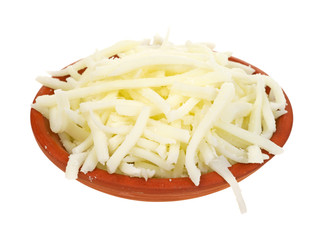 Small bowl of low fat mozzarella cheese