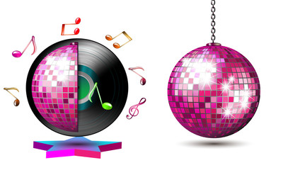 Vinyl record with disco ball and music notes
