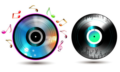 Vinyl record with CD and music notes