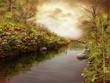 Brzeg rzeki w jesiennych kolorach