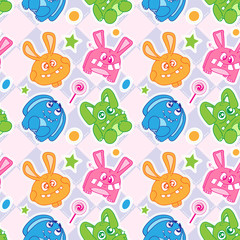 Funny bunny seamless wallpaper