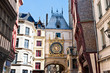 Half-Timbered Houses and Great Clock at Rouen, Normandy, France