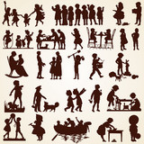 Children silhouettes, children doing different things playing