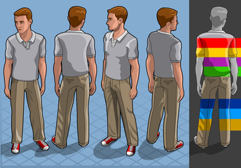 isometric service man in four position