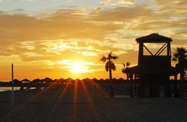 Beach at sunset, Puerto Cabopino, Spain © Arena Photo UK