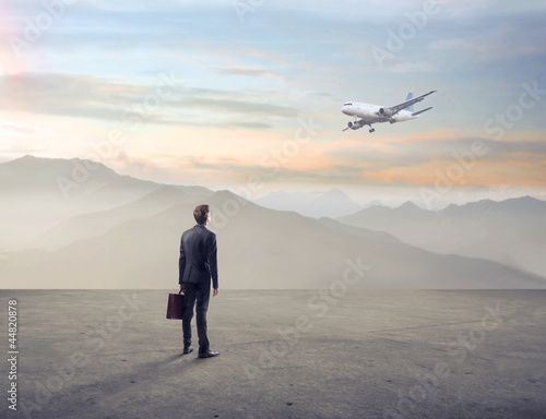 Businessman in a wasteland