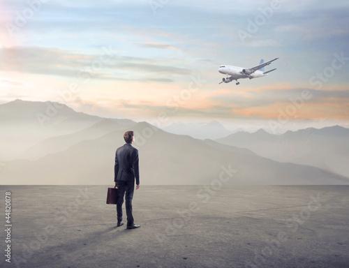 Businessman in a wasteland