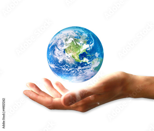 Planet earth in hand