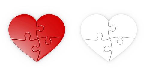 rompecabezas de un corazón aislado con trazado de recorte