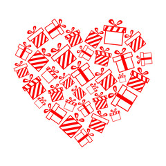 Vector gift boxes in the heart shape