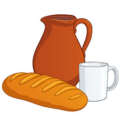 Earthenware with milk and long loaf