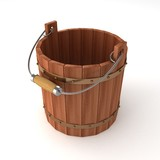 empty wooden bucket on white background