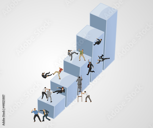 Fight between business people on bar chart