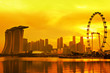 Singapore skyline with golden sunset