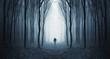 Leinwanddruck Bild - man in a dark forest