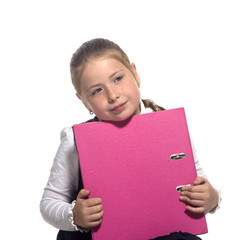 School girl hold a book