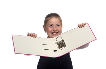 School girl hold an empty holder