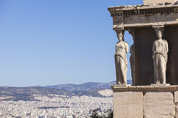 Erechtheion in the Acropolis of Athens in Greece
