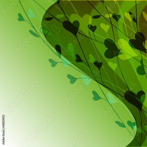 green background with a pattern of branches