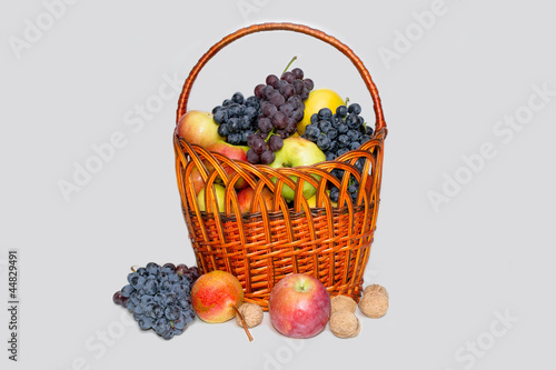 Fruit in a wattled basket, a still-life.2