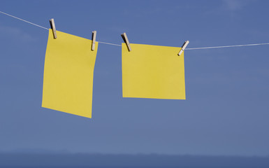 Yellow paper hanging.