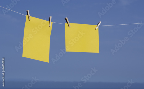 Yellow paper hanging.