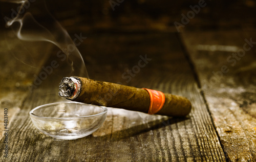 Burning luxury Cuban cigar Poster
