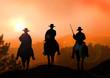 Leinwanddruck Bild - Stock Illustration of Horse Rider on Mountain