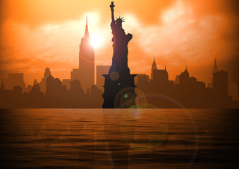 Stock illustration of New York and Liberty Statue on Sunset
