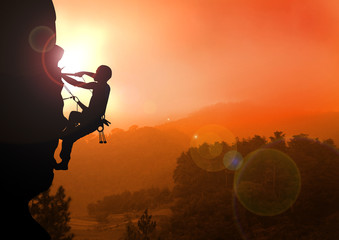 Mountain Climbing on Sunset