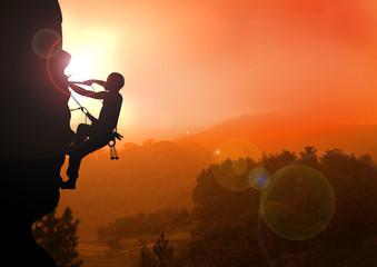 Mountain Climbing on Sunset