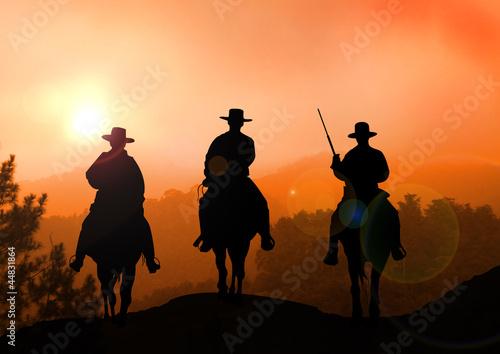 Fototapeta Stock Illustration of Horse Rider on Mountain