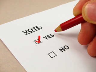 Voting 'yes' with a red pencil