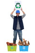 Young tradesman promoting recycling