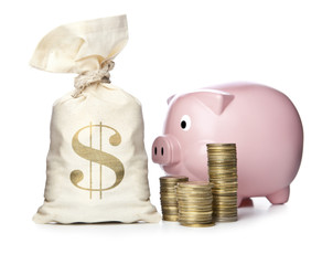 Piggy Bank and money bag with coins on white background