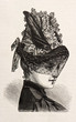 young woman wearing an elegant hat. engraved illustration 1885