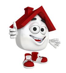 Kleines 3D Haus Rot - Daumen hoch