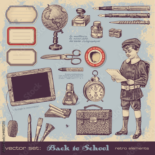 back to school - collection of vintage design elements