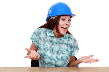 Woman with helmet sitting