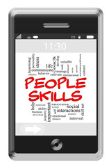 People Skills Word Cloud Concept on Touchscreen Phone