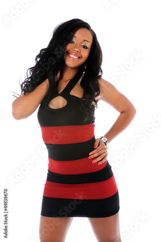 Portrait of Young Woman in Red and Black Dress