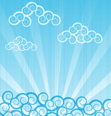 vector sea background with waves and clouds