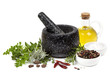 Mortar and Pestle with Herbs and Spices Isolated