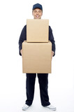 Young relocation staff member holding cardboard boxes poster