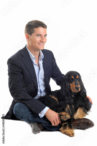 business man and cocker spaniel