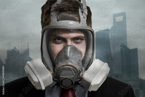 Businessman in a polluted city