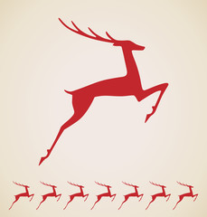Christmas deer, vector vintage element