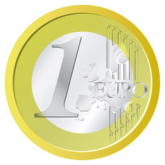 Isolated shiny one euro coin vector illustration
