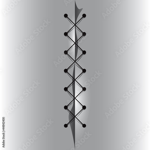 Cross linked thread seam, vector illustration.
