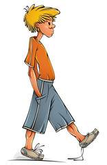 Funny walking clumsy teenager boy.